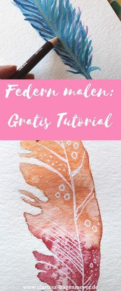 Federn malen - so geht's! Hier findest du drei kostenlose Anleitungen für Federn mit Aquarell und Farbstiften, ganz einfach erklärt!