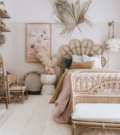 Boho style girl nursery bedroom with rattan furniture, half painted pink wall and pretty accessories to create a dream bedroom for any little girl Room Ideas Bedroom, Home Bedroom, Girls Bedroom, Girl Room, Bedroom Decor, Girl Nursery, Nursery Room, Nursery Ideas, Bedroom Furniture
