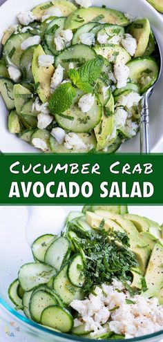 1 reviews · 20 minutes · Gluten free · Serves 6 · Cucumber Crab Avocado Salad is a fany side, that's actually EASY to make! It's perfect for your summer gatherings like picnics and bbqs. Thinly sliced cucumber, crab, and avocado are tossed in a lemon… Avocado Crab Salad, Avocado Salad Recipes, Healthy Spring Recipes, Healthy Dinner Recipes, Picnic Recipes, Summer Side Dishes, Healthy Side Dishes, Healthy Picnic Foods, Spring Soups