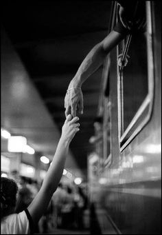 Hands, farewell, train, departure, gesture, love, friendship, beautiful, departing, photograph, photo b/w.