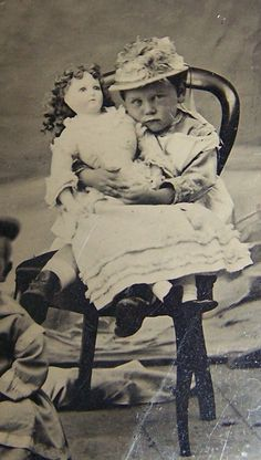 Adorable Tintype Two Children Large Doll