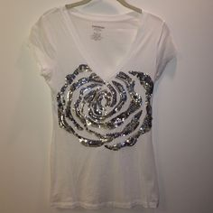 White V Neck Short sleeve V-Neck with sequin flower design, size small, never worn Express Tops Tees - Short Sleeve