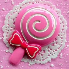 Kawaii Pink Lollipop Cabochon BIG Lollipop 92mm x 60mm Kawaii Big Cabochon for Cell phone Deco FCAB038