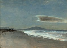 Shore and Mountain at Twilight - Lockwood de Forest 1909 American, 1850–1932 oil on paper laid to canvas , 25.4 x 35.56 cm. (10 x 14 in.)