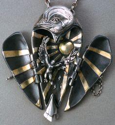 Terry Kovalcik A Tear for Icarus, locket Open, precious metal clay