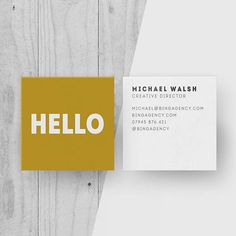 Printable Mustard Yellow Square Business Card, Personalised Hello Calling Cards, Customised Name Card, Minimal custom card, modern design