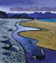 Original Welsh artwork by Chris Neale at Tonnau, Pwllheli Gallery. Cricieth - Limited Edition Print by Chris Neale. Size x Print only or Mounted. Landscape Art, Landscape Paintings, Soul Art, Art Moderne, Naive Art, Pastel Art, Art Plastique, Art Images, Graphic Art