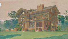 """Augustus Higginson architectural rendering, c.1903, watercolor, presentation drawing for a midwest Arts & Crafts building , unsigned, some wear to edges, 22""""w x 13""""d x very good condition Provenance: Descended from architect's family"""
