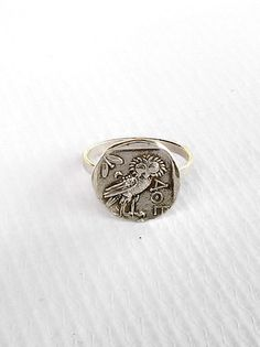 Goddess Athena Silver Owl Ring Ancient Greek Ring All Greek Jewelry, Coin Jewelry, Transparent Nails, Owl Ring, Athena Goddess, Bronze Ring, Signet Ring, Silver Coins, Modern Jewelry