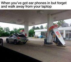 Image via We Heart It https://weheartit.com/entry/148442017 #earphones #funny #laptop #lol