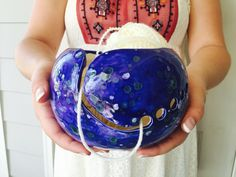 Blue Pottery Bowl | Yarn Bowl | Blue Pottery | Crochet accessories from my Charleston, SC studio by CreativityHappens on Etsy