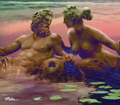 Poseidon and Amphitrite ( Greek mythology ) - artwork by Ridha H. Painting Words, Greek Mythology, Digital Art, Artwork, Fictional Characters, Diy, Mother Earth, Water, Tortoise