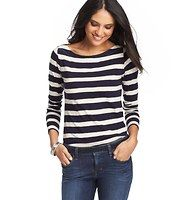 Striped Cotton Long Sleeve Boatneck Tee - In sailor sweet stripes, we can't get enough of this unbelievably soft cotton boatneck - for nautically cute style. Banded neckline. Long sleeves.
