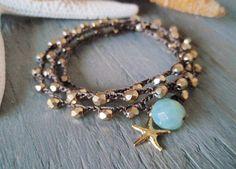 Crochet wrap bracelet necklace anklet 'GoldenStar' metallic gold vermeil starfish , blue opal beach boho surfer chic summer - DIY IDEA