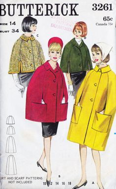"""1960s Misses Cape Vintage Sewing Pattern, 3 Styles, Fall Fashion, Spring Fashion, Butterick 3261 bust 34"""" uncut"""