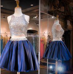 Hd08289 Charming Homecoming Dress,Satin Homecoming Dress,Two Pieces Homecoming Dress,Beading Homecoming Dress