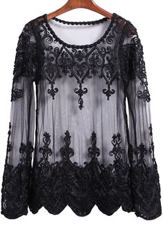 Steampunk Victorian Blouse  -  Black Long Sleeve Sheer Mesh Lace Blouse $14.33 AT vintagedancer.com