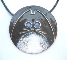 Blue eyed Cat's Whiskers enamelled pendant Etsy Shop - maggiejonesenamels