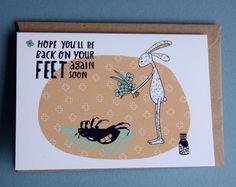 Een persoonlijke favoriet uit mijn Etsy shop https://www.etsy.com/nl/listing/254569083/greeting-card-get-well-soon-beetle
