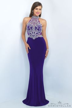 Be a regal queen in this jersey gown! Blush 11072 Dress / $459. Shop the look at Christellas.com. #Prom #Dresses #BlushProm