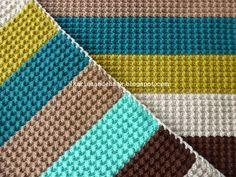 Karin on the hook: Big crochet blanket with retro pattern Crochet Afghans, Crochet Afghan Stitch, Crochet Blanket Border, Diy Crochet, Crochet Stitches, Crochet Baby, Blanket Stich, Crochet Headband Tutorial, Stitch Patterns