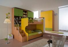 Bunk bed idea for boys bedroom. Shelves behind bed would bring beds into room and use wasted space in middle of floor!