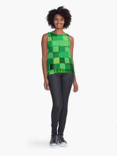 Cute Funky and Unique Distressed Shades of Green Color Block Print Sleeveless Top Hipster Outfits, Hipster Fashion, Hipster Clothing, Green Blouse, Green Dress, Blouses For Women, Women's Blouses, Retro Shirts