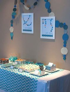 I'm slated to host my bestfriends baby shower next week and thinking of doing this. Blue Chevron Pattern and Polka Dot Boy Baby Shower