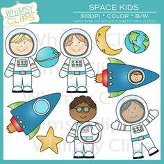 High-resolution space kids clip art.