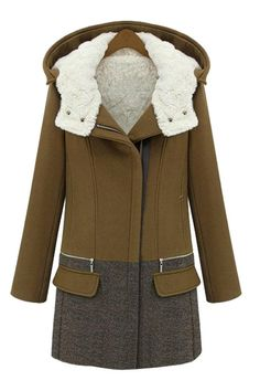 Hit color woolen coat