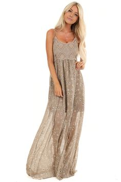 Taupe Floral Spaghetti Strap Maxi Dress with Crocheted Bust front full body Dressy Maxi Dress, Taupe Maxi Dress, Taupe Bridesmaid, Bridesmaid Dresses, Wedding Dresses, Bridesmaids, Boutique Maxi Dresses, Cute Boutiques, Cute Dresses