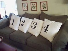 DIY pillows -- would be cool to have it spell something out. Maybe COZY or COMFY or SNUGS