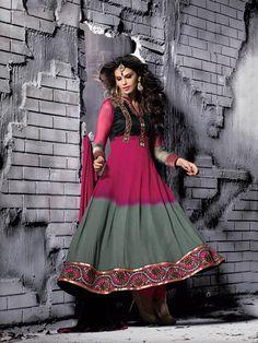 Pink Grey Semi Georgette Elegant Anarkali Salwar Kameez Product Code: PWSS2007