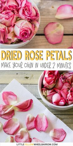 How to dry rose petals for all your homemade crafting projects. Check out this neat little trick to get your rose petals dried in two minutes flat! How To Make Potpourri, Homemade Potpourri, Rose Petals Craft, Dried Rose Petals, Dried Flowers, Drying Roses, Pot Pourri, Homemade Tea, Décor Boho