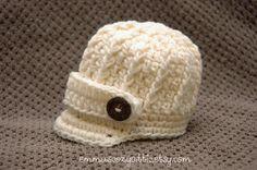 Newborn boy hat baby boy hat newsboy hat ecru brim hat photography prop infant boy hat photo prop crochet baby boy hat
