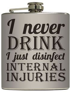 """""""Internal Injuries"""" Flask by Liquid Courage #InkedShop #flask #party #booze #alcohol"""