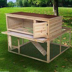 """Goplus 46"""" Deluxe Wooden Chicken Coop Hen House Rabbit Wood Hutch Poultry Cage Habitat"""
