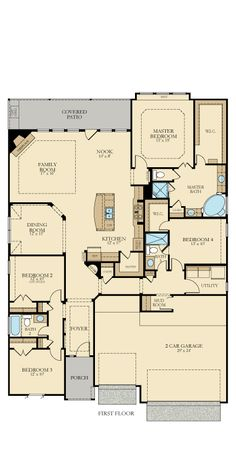The Savoy from @lennarsa has four bedrooms, three baths and a three-car garage on one story. The kitchen has a large walk-in pantry, and there is a mud room conveniently near the garage. The master bath has a large walk-in closet, a corner tub, two sinks and a separate shower.