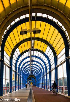 Nelson Mandela Bridge - Zoetermeer, The Netherlands;  built in 1992;  591 feet long;  designed by J. Bake;  photo by renfie, via Flickr
