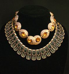 Egyptian Revival Necklace Statement Amber Glass Rhinestone Gold Necklace Retro Vintage Jewelry jewellery 1950s 50s isj
