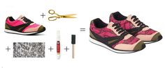 Love these #DIY Lace Sneakers from P.S. - I Made This ... #pink and so simple!