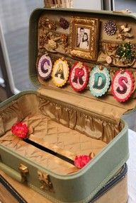 """Suitcase for cards...with brooches and possibly a french flag. Use pretty sewing pins to hold in """"Cards"""""""