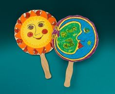 Fun DIY Craft project for the kids this summer!  Discover a fiery Mesoamerican myth while you cool you off with a colorful fan.