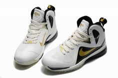 LeBron 9 P.S. Elite Gold White Black Lebron Shoes For Sale 2045bcb414