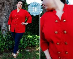 CLEARANCE  Plus Size  Vintage Red Crepe Asian by TheCurvyElle, $6.00