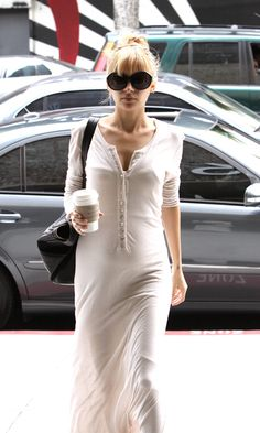 Nicole Richie wearing Henley dress by L'Agence with Oliver Goldsmith Goo Goo sunglasses and a Givenchy Nightingale Bag