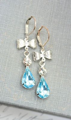 Bridal Earrings Aquamarine Glass Something Blue