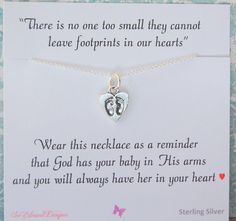 Miscarriage necklace, Infant loss jewelry, sympathy gift, loss of child, tiny footprints on heart