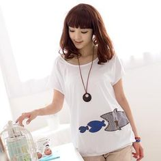 Fish Appliqué Short-Sleeved Top from #YesStyle <3 59 Seconds YesStyle.com