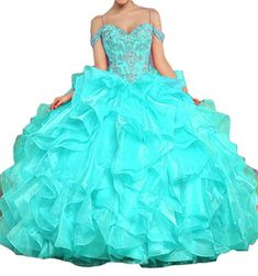 9cec30e2b8 Dydsz Women s Off Shoulder Long Prom Quinceanera Dresses Party Beaded Ball  Gown D231 Turquoise 12
